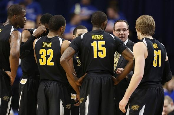 Feb 5, 2014; Terre Haute, IN, USA; Wichita State Shockers coach Gregg Marshall talks to his team against the Indiana State Sycamores at the Hulman Center. The Shockers won 65-58. Mandatory Credit: Brian Spurlock-USA TODAY Sports