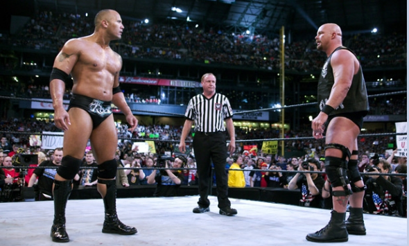 The Rock vs Stone Cold at WrestleMania 19. Safeco Field, Seattle, Washington.