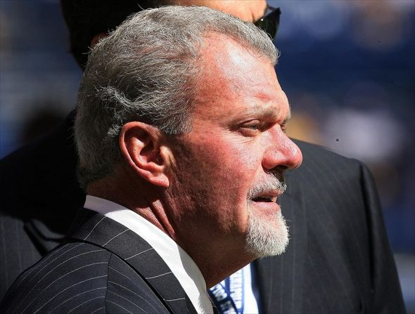 Sep 16, 2012; Indianapolis, IN, USA; Indianapolis Colts owner Jim Irsay standing on the sidelines before the game against the Minnesota Vikings at Lucas Oil Stadium. Indianapolis defeats Minnesota 23-20. Mandatory Credit: Brian Spurlock-USA TODAY Sports