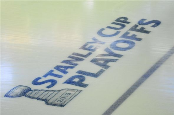 May 13, 2013; Boston, MA USA; A view of the Stanley Cup Playoff logo on the ice before game seven of the first round of the 2013 Stanley Cup Playoffs between the Boston Bruins and Toronto Maple Leafs at TD Garden. Mandatory Credit: Bob DeChiara-USA TODAY Sports