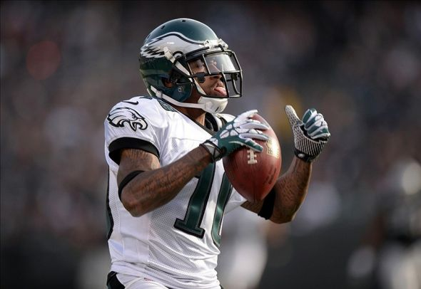 Nov 3, 2013; Oakland, CA, USA; Philadelphia Eagles receiver DeSean Jackson (10) celebrates after scoring on a 46-yard touchdown reception in the third quarter against the Oakland Raiders at O.co Coliseum. The Eagles defeated the Raiders 49-20. Mandatory Credit: Kirby Lee-USA TODAY Sports