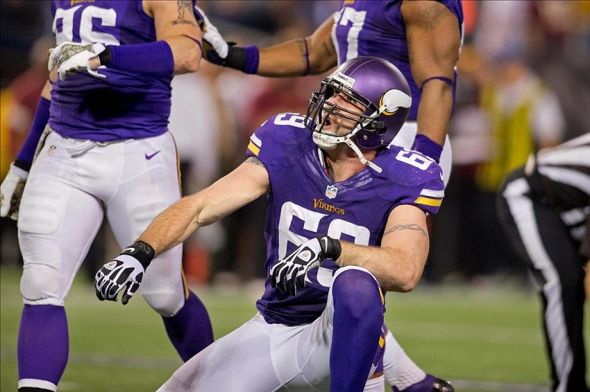 Nov 7, 2013; Minneapolis, MN, USA; Minnesota Vikings defensive end Jared Allen (69) celebrates his sack against the Washington Redskins in the fourth quarter at Mall of America Field at H.H.H. Metrodome. The Vikings win 34-27. Mandatory Credit: Bruce Kluckhohn-USA TODAY Sports