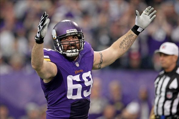 Dec 29, 2013; Minneapolis, MN, USA; Minnesota Vikings defensive end Jared Allen (69) celebrates a sack during the first quarter against the Detroit Lions at Mall of America Field at H.H.H. Metrodome. Mandatory Credit: Brace Hemmelgarn-USA TODAY Sports