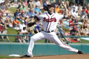 Mar 2, 2014; Lake Buena Vista, FL, USA; Atlanta Braves starting pitcher Alex Wood (40) throws the ball during the first inning against the Detroit Tigers at Champion Stadium. Mandatory Credit: Kim Klement-USA TODAY Sports