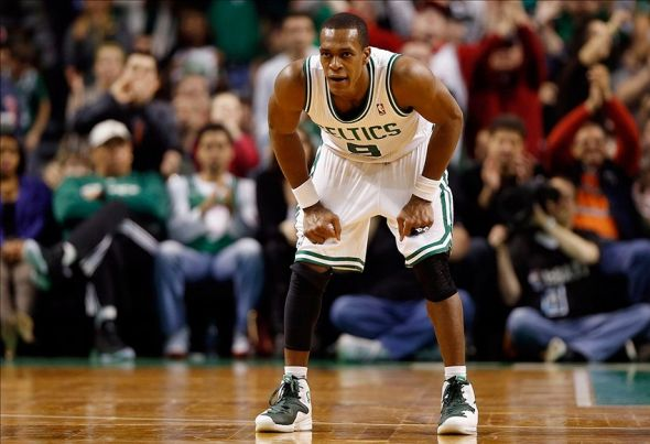 Mar 1, 2014; Boston, MA, USA; Boston Celtics point guard Rajon Rondo (9) on defense during the fourth quarter of Indiana