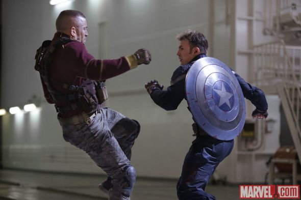 "Georges St-Pierre and Chris Evans as Batroc and Captain America in ""Captain America: The Winter Soldier."" Photo Credit: Marvel"