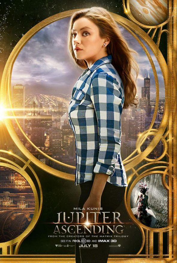 "Mila Kunis as Jupiter Jones in a Promotional Poster for the film ""Jupiter Ascending."" Photo Credit: Warner Bros. Pictures"