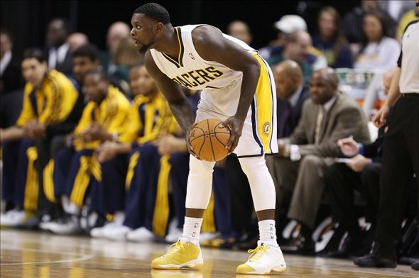 Feb 27, 2014; Indianapolis, IN, USA; Indiana Pacers guard Lance Stephenson (1) holds the ball against the Milwaukee Bucks at Bankers Life Fieldhouse. Mandatory Credit: Brian Spurlock-USA TODAY Sports