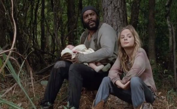 "Chad L. Coleman and Brighton Sharbino as Tyreese and Lizzie in Season 4 Episode 14 of ""The Walking Dead"" entitled ""The Grove."" Photo Credit: AMC"