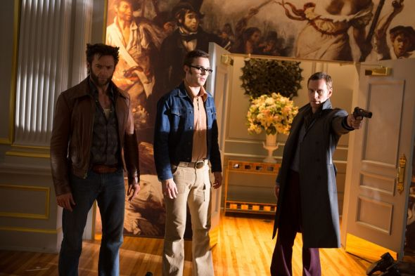 """Hugh Jackman, Nicholas Hoult, and Michael Fassbender as Wolverine, Beast, and Magneto in """"X-Men: Days of Future Past."""" Photo Credit: Marvel via Total Film"""