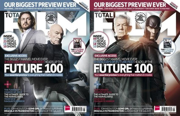 James McAvoy, Patrick Stewart, Ian McKellen, and Michael Fassbender as Professor X and Magneto on the cover of Total Film Magazine. Photo Credit: Total Film