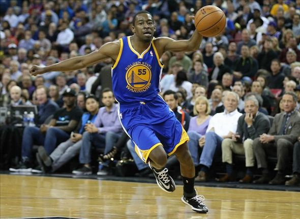 Feb 19, 2014; Sacramento, CA, USA; Golden State Warriors shooting guard Jordan Crawford (55) moves the ball against the Sacramento Kings during the second quarter at Sleep Train Arena. Mandatory Credit: Kelley L Cox-USA TODAY Sports
