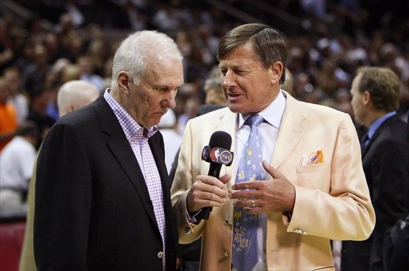 May 29, 2012; San Antonio, TX, USA; San Antonio Spurs head coach Gregg Popovich is interviewed by Craig Sager during the second half in game two of the Western Conference finals of the 2012 NBA playoffs against the Oklahoma City Thunder at the AT&T Center. Mandatory Credit: Soobum Im-USA TODAY Sports