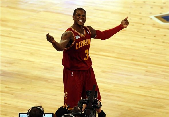 Feb 14, 2014; New Orleans, LA, USA; Team Hill guard Dion Waiters (3) celebrates after a three point basket during Rising Stars Challenge at Smoothie King Center. Mandatory Credit: Derick E. Hingle-USA TODAY Sports