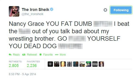 Iron Shiek Nancy Grace Tweet