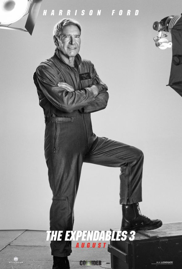 """Harrison Ford as Max Drummer in the film """"The Expendables 3."""" Photo Credit: Lionsgate via Collider"""