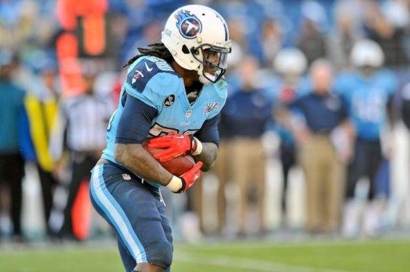 Dec 29, 2013; Nashville, TN, USA; Tennessee Titans running back Chris Johnson (28) carries the ball against the Houston Texans during the second half at LP Field. Tennessee won 16-10. Mandatory Credit: Jim Brown-USA TODAY Sports