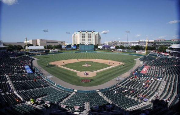 Aug 19, 2012; Frisco, TX, USA; General view during the seventh inning of the game between the Frisco Roughriders and the Northwest Arkansas Naturals at Dr Pepper Ballpark. The Roughriders beat the Naturals 3-0. Mandatory Credit: Tim Heitman-USA TODAY Sports