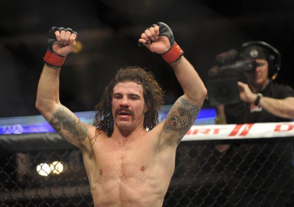 Jan 26, 2013; Chicago, IL, USA; Clay Guida reacts after defeating Hatsu Hioki (not pictured) during UFC on FOX 6 at the United Center. Mandatory Credit: David Banks-USA TODAY Sports