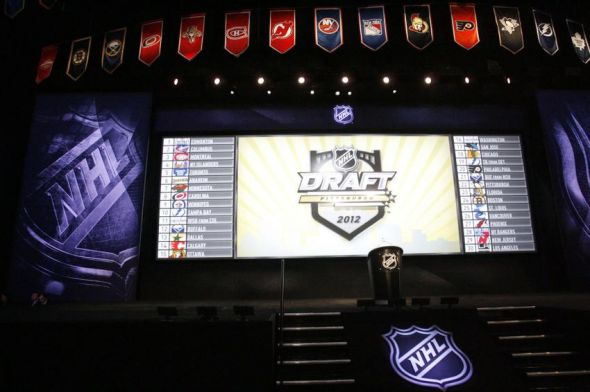 June 22, 2012; Pittsburgh, PA, USA; General view of the stage and draft board order prior to the 2012 NHL Draft at CONSOL Energy Center. Mandatory Credit: Charles LeClaire-USA TODAY Sports