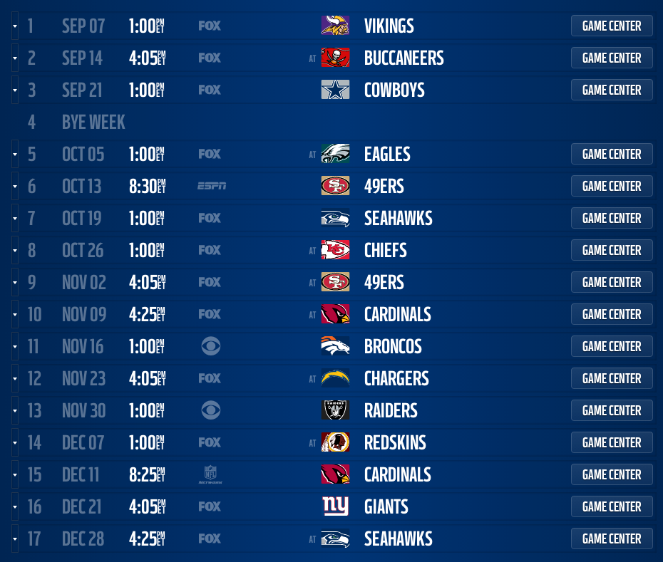 2014 Nfl Schedule Released For All 32 Teams Page 33