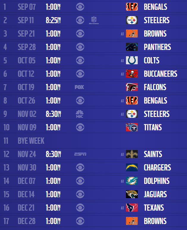 Baltimore Ravens 2014 Schedule Released