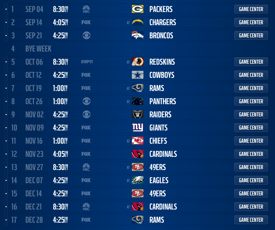 2014 Nfl Schedule Released For All 32 Teams Fansided