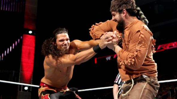 Adam Rose faces off against Damien Sandow (as Davy Crockett). Photo Credit: WWE.com