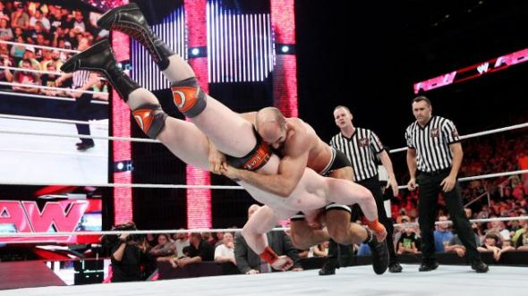 Cesaro Neutralizes Sheamus in retaliation for his attack earlier in the night. Photo Credit: WWE.com