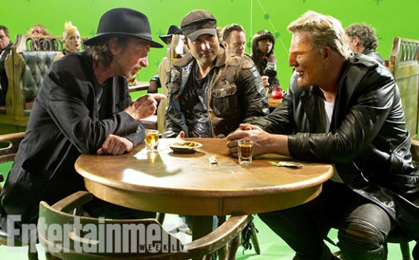 """Robert Rodriguez, Frank Miller, and Mickey Rourke on the set of """"Sin City: A Dame to Kill For."""" Photo Credit: Dimension Films/The Weinstein Company via Entertainment Weekly"""