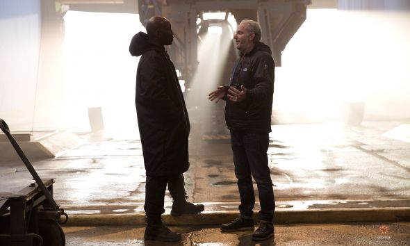 "Mahershala Ali as Boggs with Director Francis Lawrence in ""The Hunger Games: Mockingjay Part 1."" Photo Credit: Lionsgate"