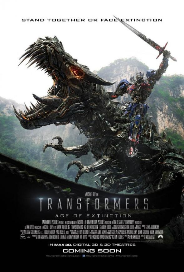 """Optimus Prime rides Grimlock into battle in new poster for """"Transformers: Age of Extinction."""" Photo Credit: Paramount Pictures via Den of Geek"""