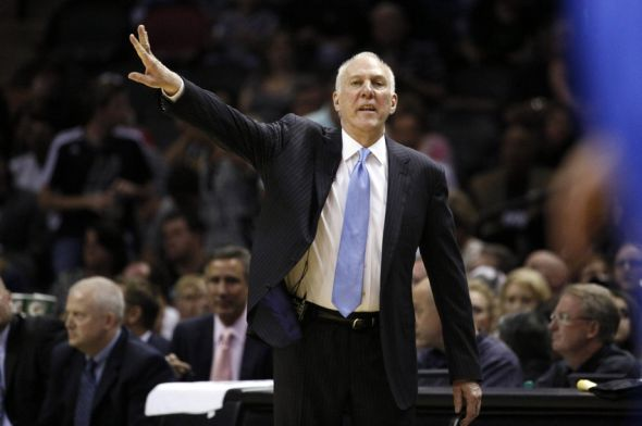 May 21, 2014; San Antonio, TX, USA; San Antonio Spurs head coach Gregg Popovich gives direction to his team against the Oklahoma City Thunder in game two of the Western Conference Finals of the 2014 NBA Playoffs at AT&T Center. Mandatory Credit: Soobum Im-USA TODAY Sports