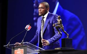 May 6, 2014; Oklahoma City, OK, USA; Oklahoma City Thunder forward Kevin Durant speaks after receiving the 2013-2014 MVP trophy at Thunder Events Center. Mandatory Credit: Alonzo Adams-USA TODAY Sports
