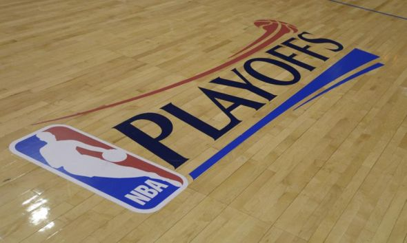 May 3, 2014; Los Angeles, CA, USA; General view of the NBA playoffs logo on the court before game seven of the first round of the 2014 NBA Playoffs between the Golden State Warriors and the Los Angeles Clippers at Staples Center. Mandatory Credit: Kirby Lee-USA TODAY Sports