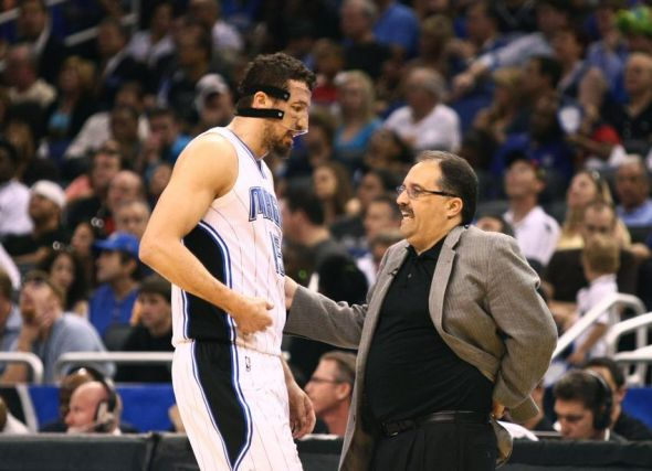 May 5, 2012; Orlando, FL, USA; Orlando Magic head coach Stan Van Gundy talks with small forward Hedo Turkoglu (15) during the second quarter of game four in the Eastern Conference quarterfinals of the 2012 NBA Playoffs at the Amway Center. Mandatory Credit: Douglas Jones-USA TODAY Sports