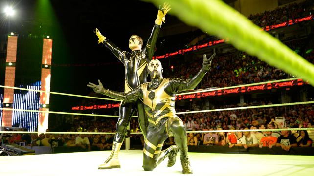 Stardust and Goldust, hereby dubbed the Dusty Brothers by me, celebrate their victory. Photo credit: WWE.com