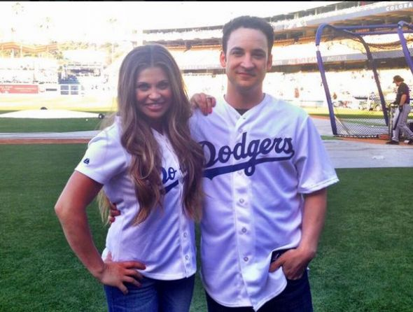 "Ben Savage and Danielle Fishel at Dodger Stadium promoting ""Girl Meets World."" Photo Credit: Los Angeles Dodgers/Twitter"