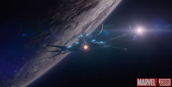 "The Guardians' ship known as The Milano in ""Guardians of the Galaxy."" Photo Credit: Marvel"