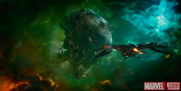 "The Guardians' ship The Milano approaching Knowhere in ""Guardians of the Galaxy."" Photo Credit: Marvel"