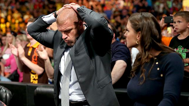 HHH reaction is similar to how a lot of fans are feeling today. Also, he's working the hell out of you. Photo credit: WWE.com