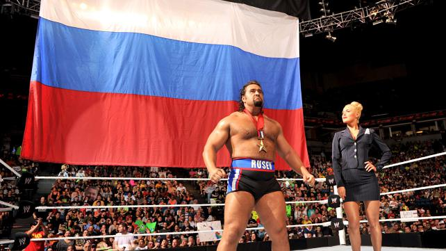 The WWE is all-in with Lana and Rusev's Russian pride. Photo credit: WWE.com