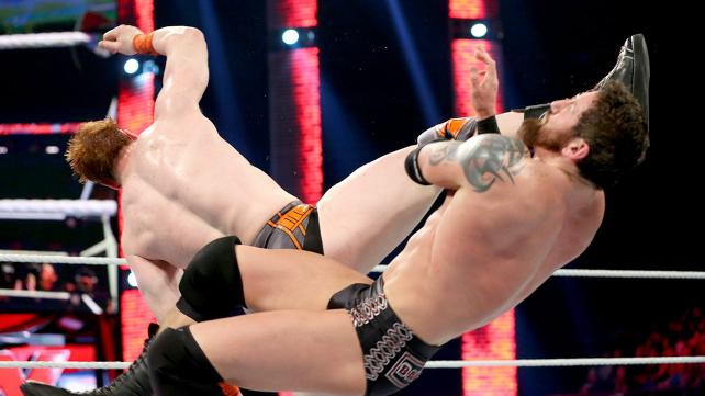 Sheamus Brogue Kicks Bad News Barrett and qualifies for a shot at the WWE Title. Photo credit: WWE.com