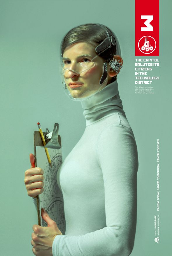 """Capitol propaganda poster for District 3 from """"The Hunger Games: Mockingjay Part 1."""" Photo Credit: Lionsgate"""