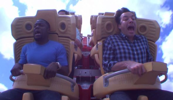 Kevin Hart and Jimmy Fallon ride the Hollywood Rip Ride Rockit at Universal Studios in Orlando. Photo Credit: NBC