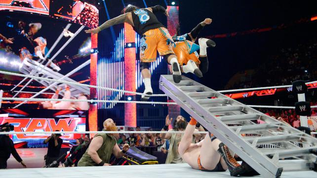 Have all the Dusty Finishes you want if crazy spots off a ladder are the result. Photo credit: WWE.com