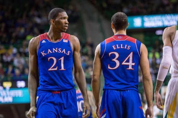 Feb 4, 2014; Waco, TX, USA; Kansas Jayhawks center Joel Embiid (21) and forward Perry Ellis (34) during the game against the Baylor Bears at the Ferrell Center. The Jayhawks defeated the Bears 69-52. Mandatory Credit: Jerome Miron-USA TODAY Sports