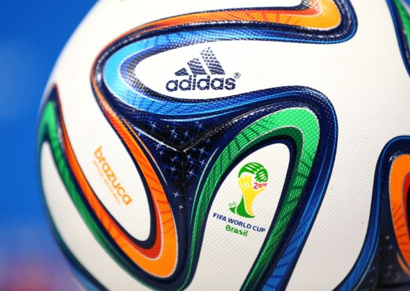 Jun 25, 2014; Recife, BRAZIL; Detaied view of the FIFA World Cup logo on an official Adidas soccer ball during USA team training at Arena Pernambuco. Mandatory Credit: Mark J. Rebilas-USA TODAY Sports