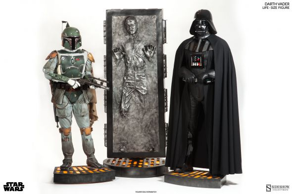 Life-sized statues of Darth Vader, Han Solo, and Boba Fett. Photo Credit: Sideshow Collectibles via IGN