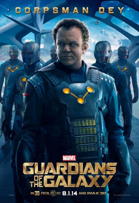 "John C. Reilly as Corpsman Rhomann Dey in a promotional poster for """"Guardians of the Galaxy."" Photo Credit: Marvel"
